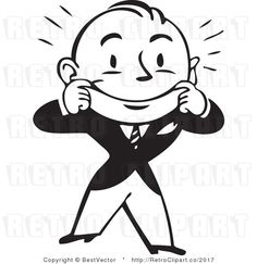 Excited Retro Business Man Waving Around With A Big Smile.
