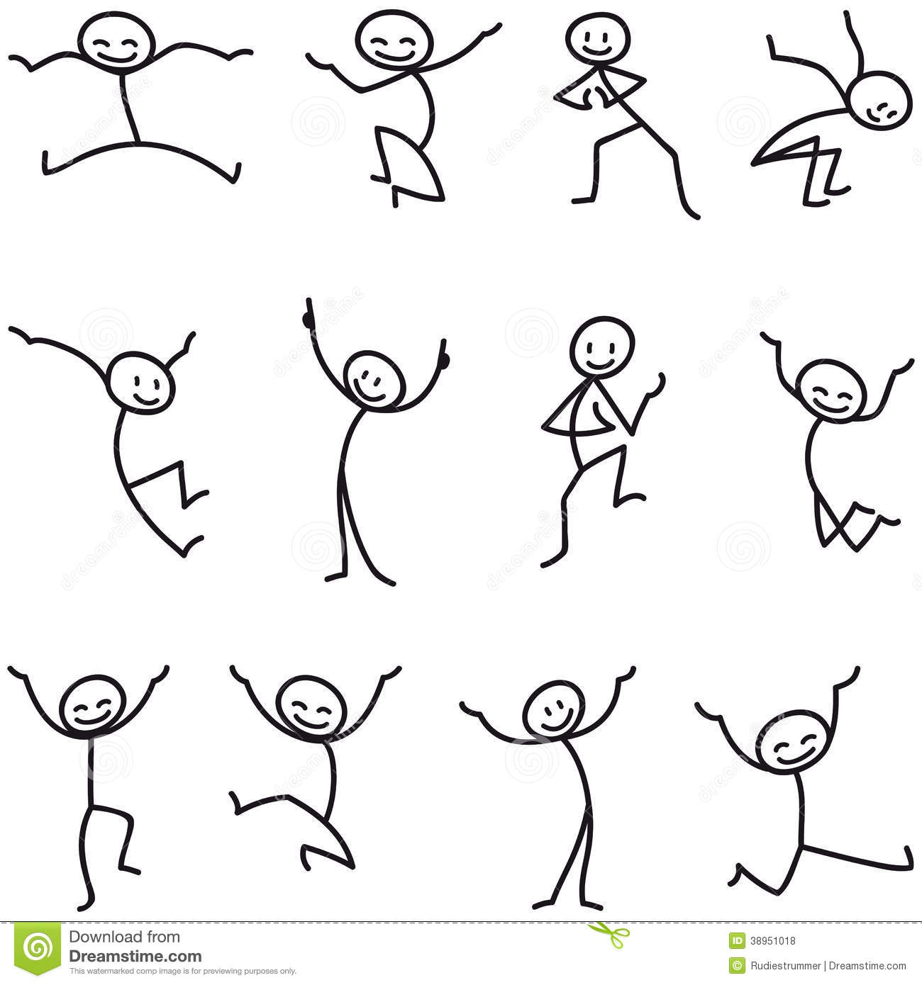 Stick Man Stick Figure Happy Jumping Celebrating.