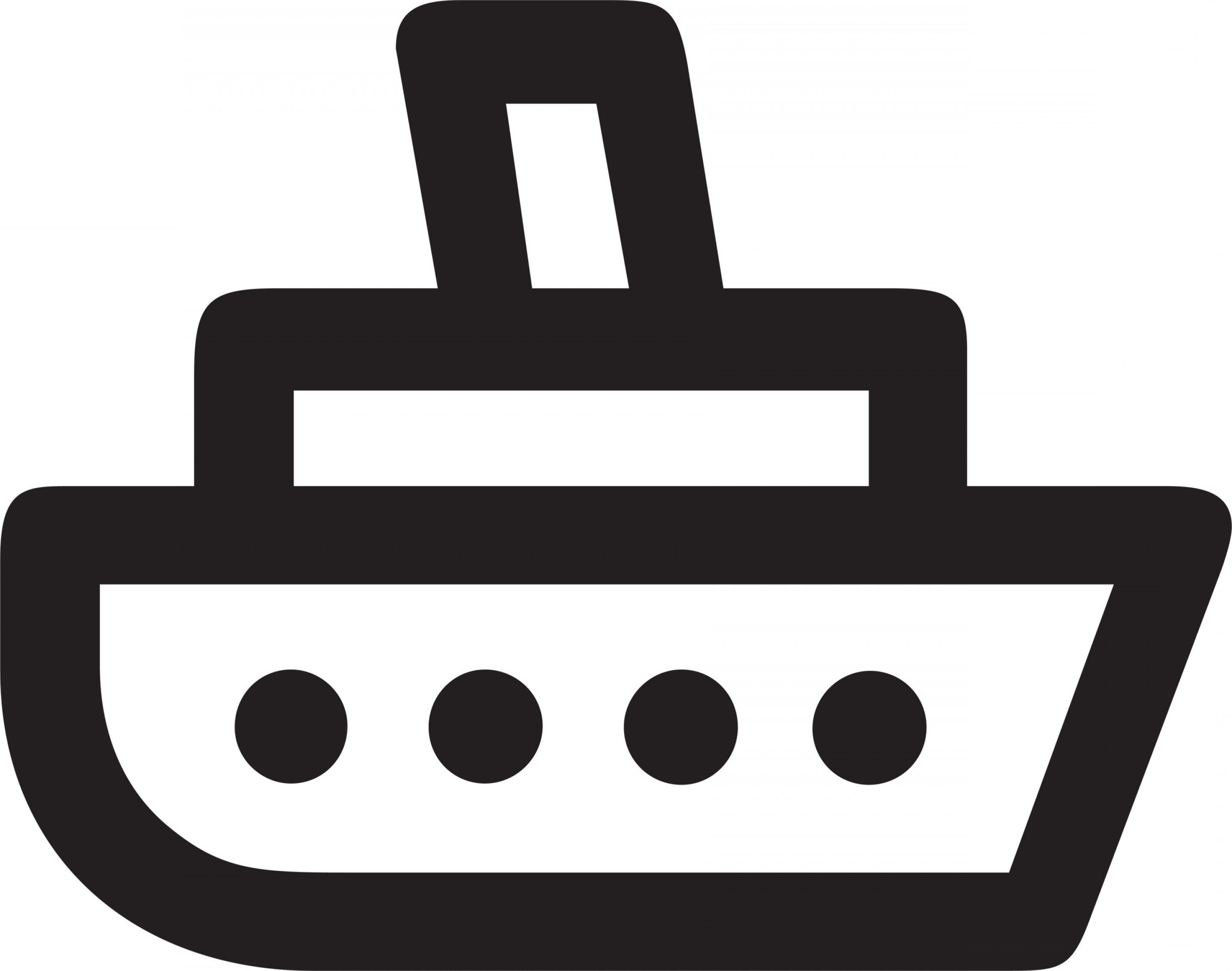 Exclusive Black And White Vector Art Cruise Ship Draw.