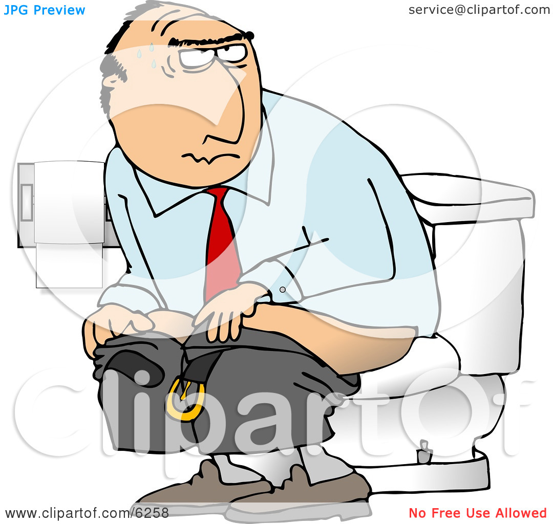 Businessman Going Poop In a Public Toilet.