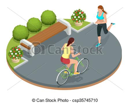 Vector Clip Art of Biker in park, woman running Cycling on bike.