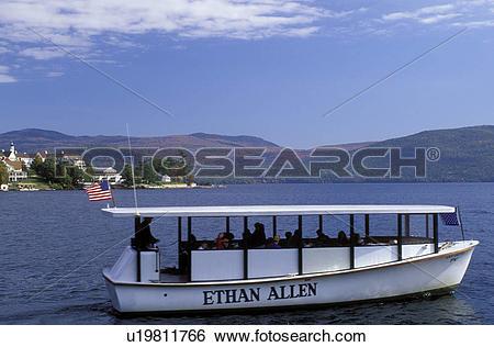 Stock Images of tour boat, Adirondacks, Lake George, Bolton.