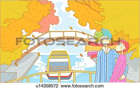 Clip Art of date, travel, couple, excursion ship, bridge, outdoors.