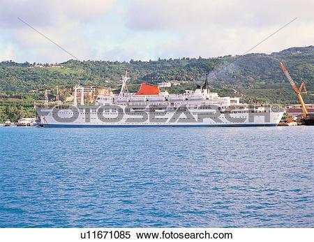 Stock Image of sea, landscape, ship, transport, excursion boat.