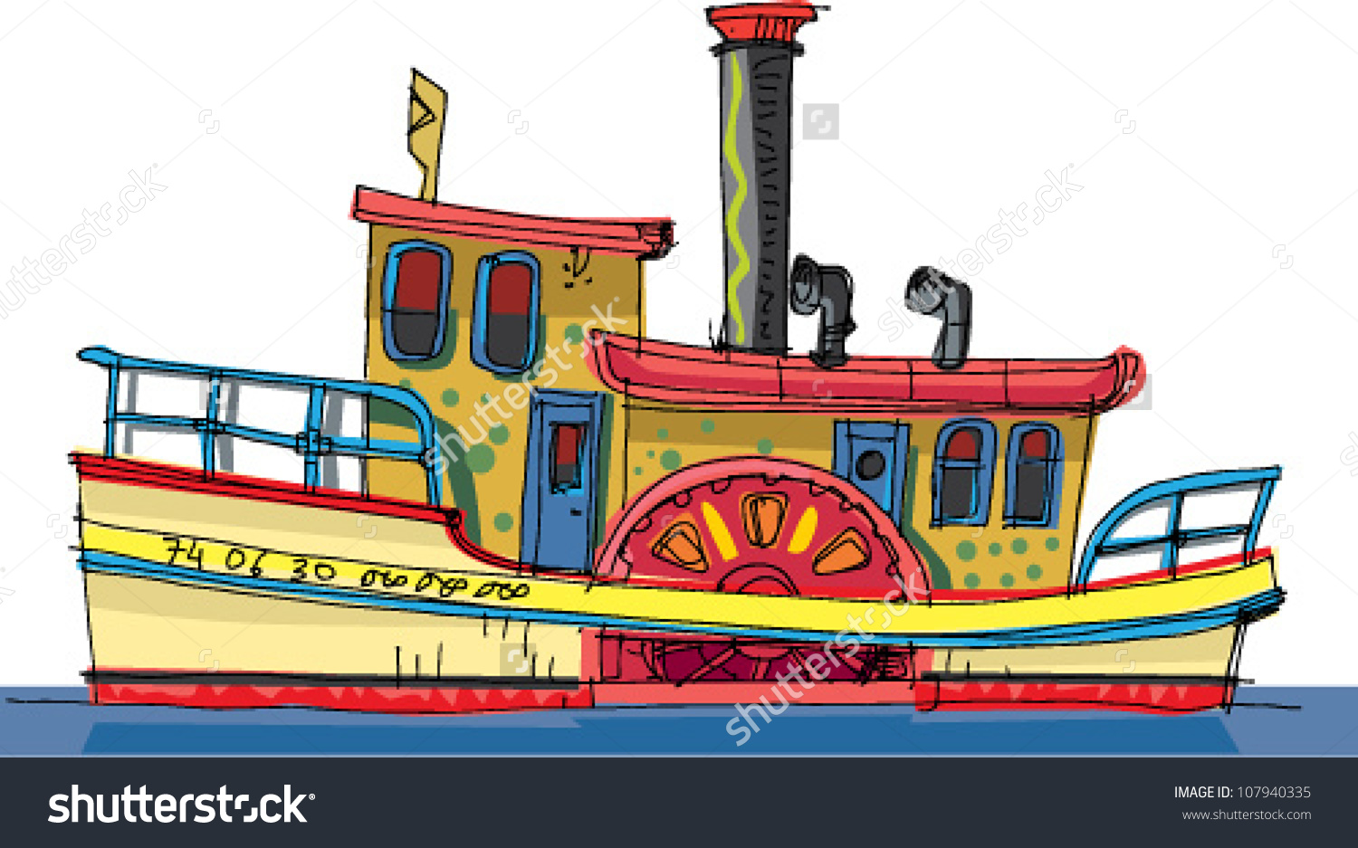 Vintage Steamer Cartoon Stock Vector 107940335.