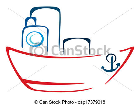 Vector Clip Art of steamer illustration.
