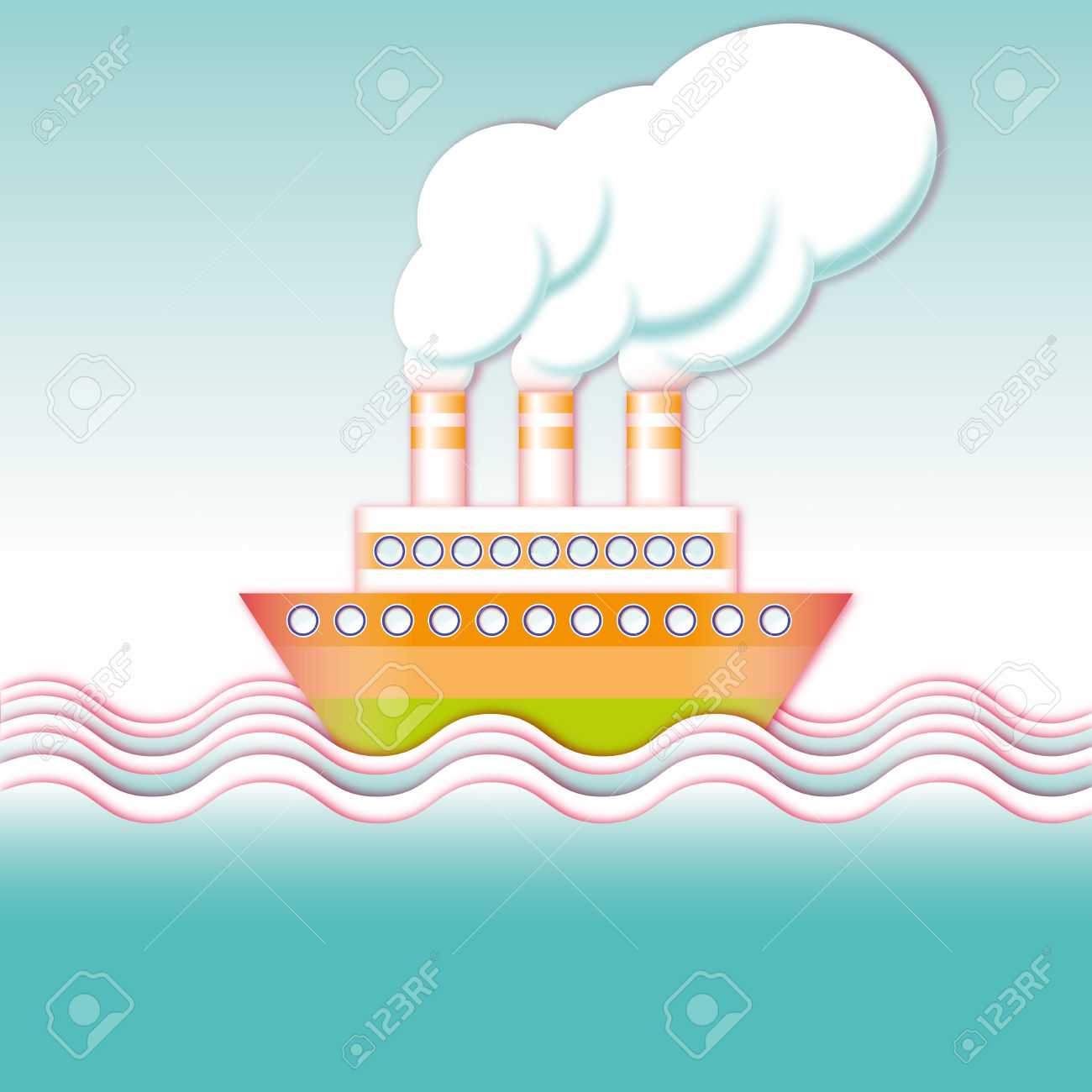Summer Excursion Steamer Cruise On The Ocean Waves Royalty Free.