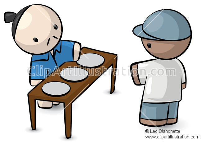 ClipArt Illustration Asian/Oriental Man Vendor, Selling Tourist.