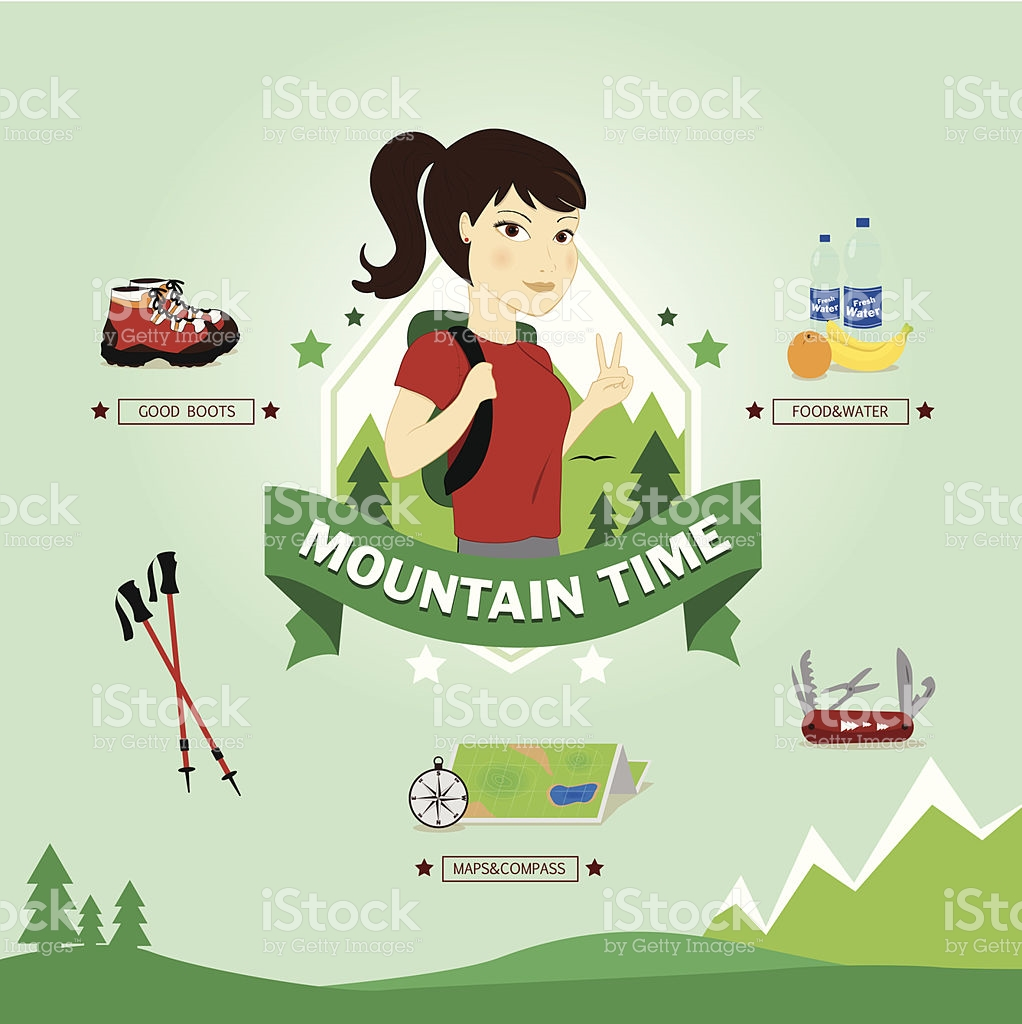 Young Woman Excursionist Vector Illustration stock vector art.