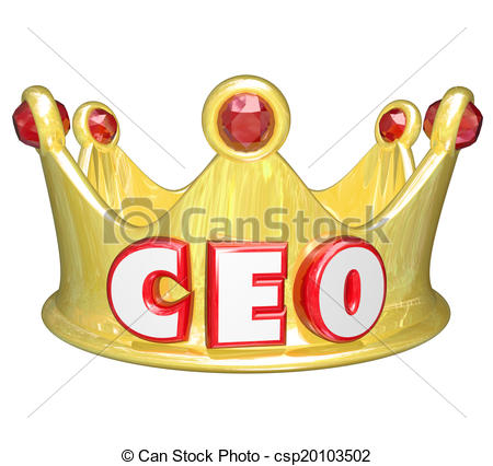 Stock Illustration of Gold Crown CEO Chief Executive Officer Words.