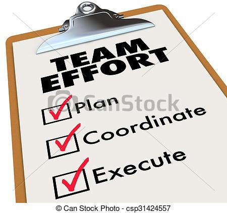 Stock Illustrations of Team Effort Checklist Clipboard Plan.