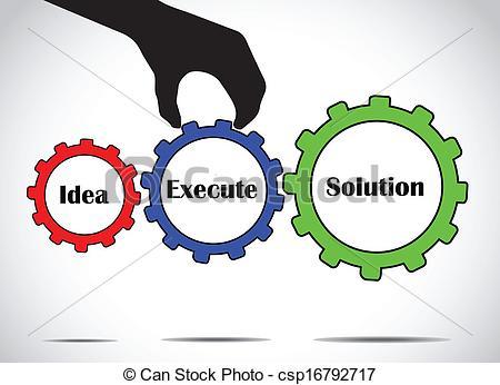 Vector Clip Art of execute idea solution gear concept.