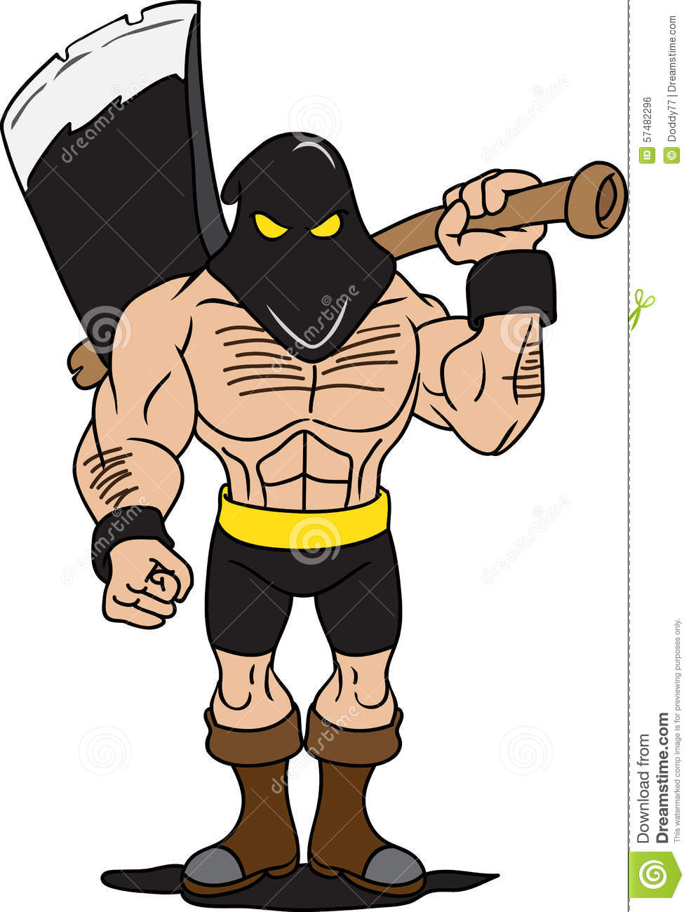 Axe Executioner Mascot Stock Vector.