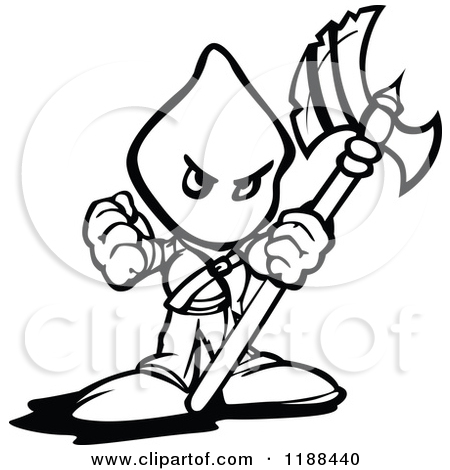 Clipart of a Retro Vintage Black and White Man and Executioner.
