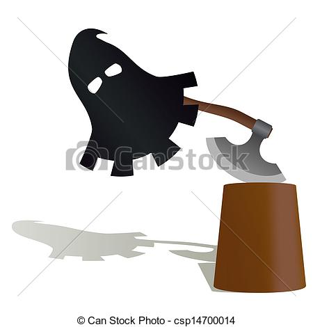 Vector Clip Art of The mask and the executioner's ax.