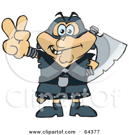 Cartoon of a Black and White Tough Executioner Holding up an Axe.