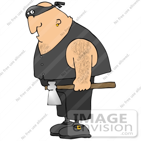 Clip Art Graphic of a Hairy Cacasian Executioner Man Carrying an.