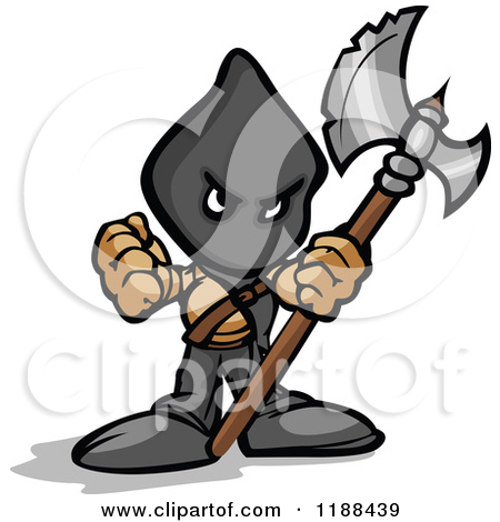 Cartoon of an Executioner Holding an Axe and Flail.