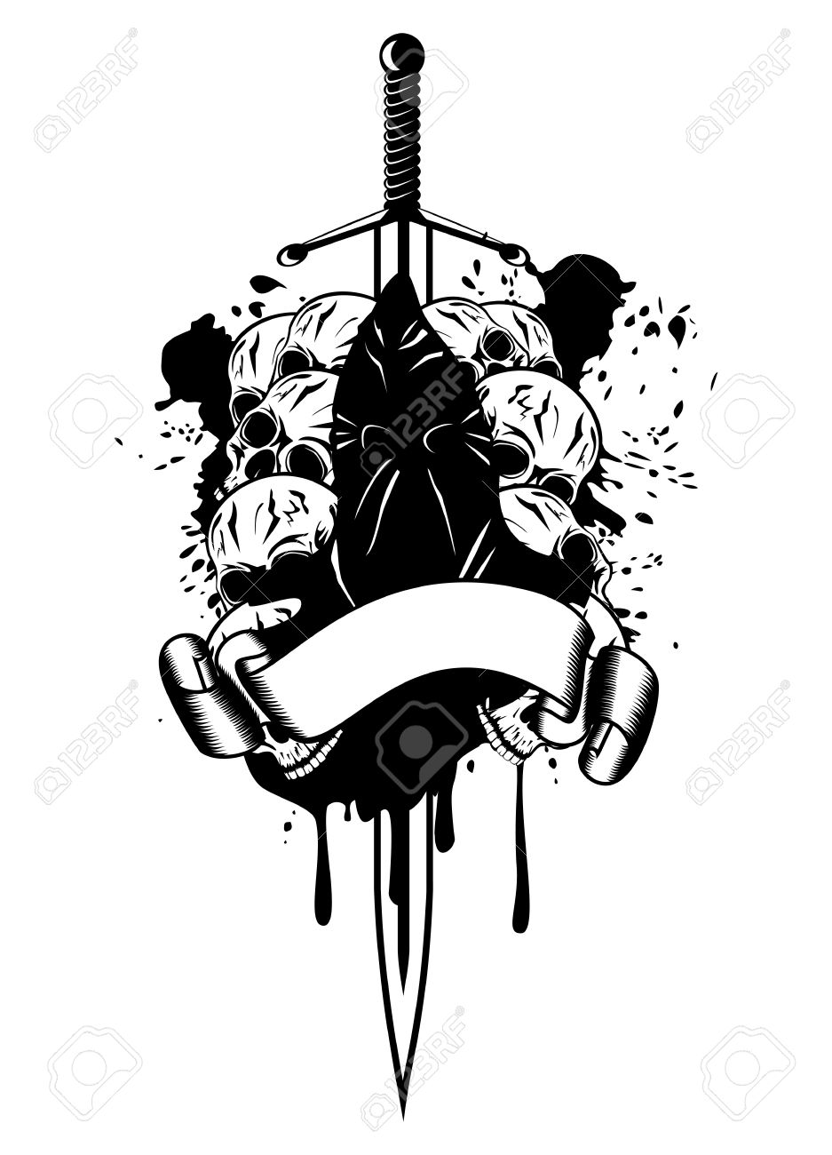 Vector Illustration Executioner And Skull Royalty Free Cliparts.