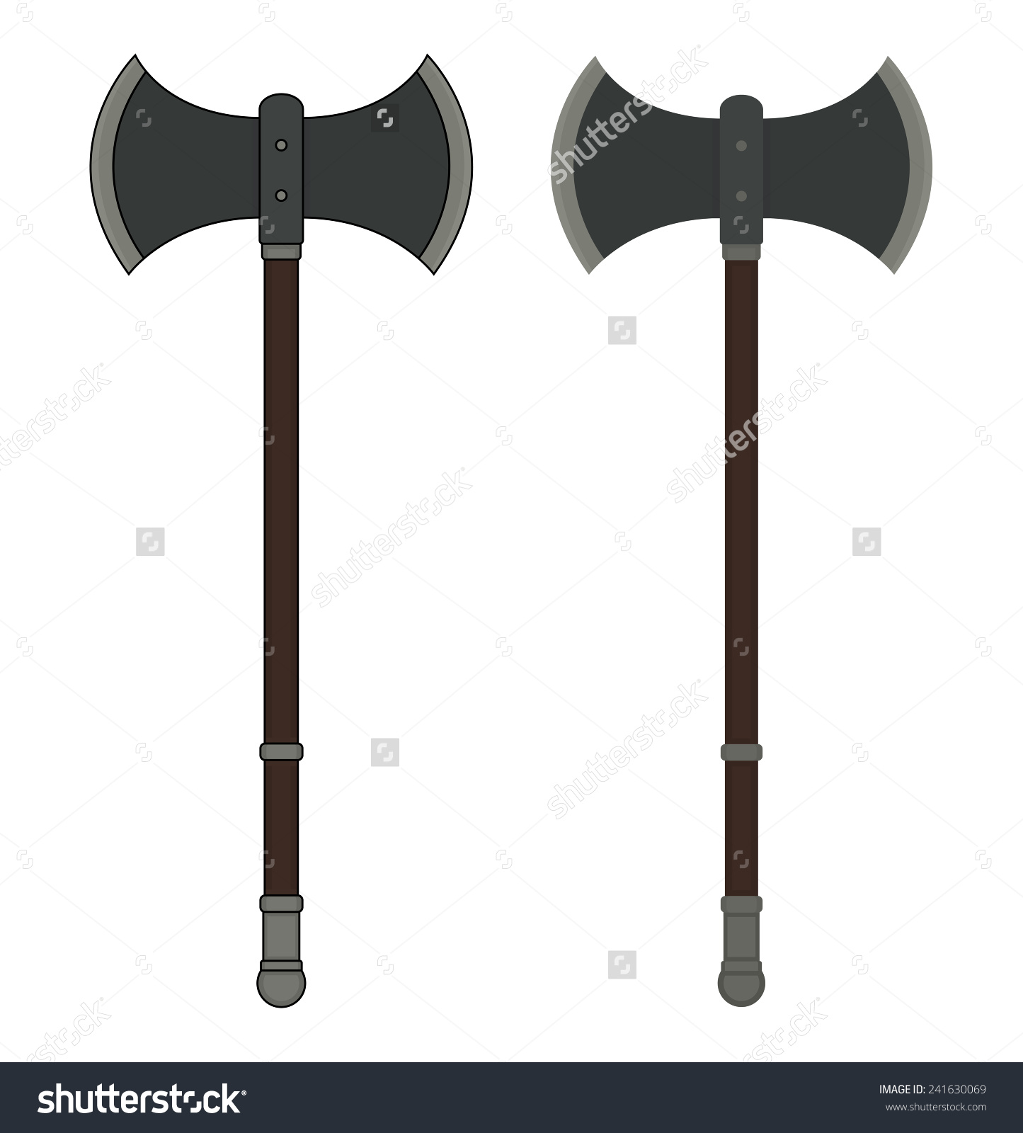 Medieval Executioner Doublesided Ax Color Vector Stock Vector.