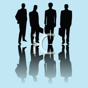 Silhouette of a Group of Business Executives.