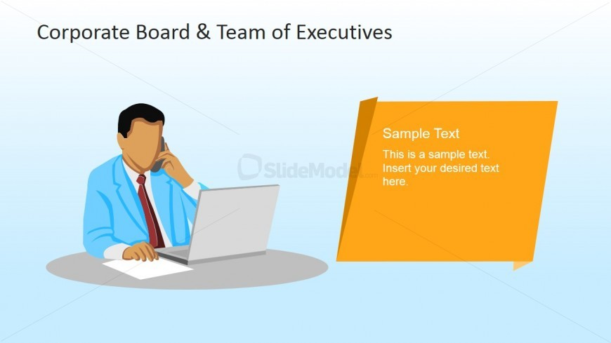 Executive with Phone and Laptop Clipart.