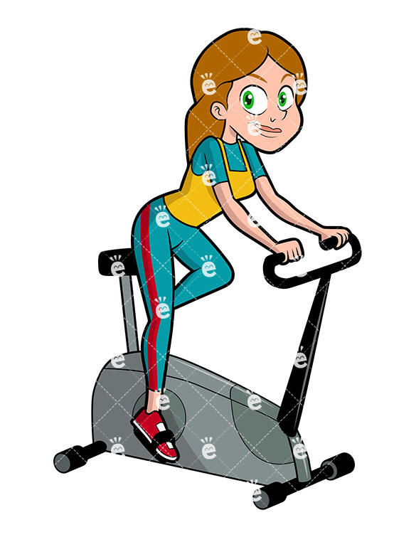 A Woman Using An Exercise Bike.