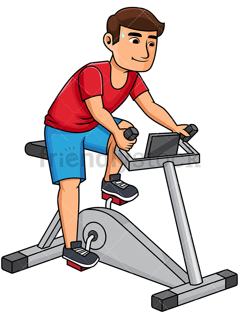 Healthy Man Riding Stationary Bike.