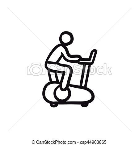 Man training on exercise bike sketch icon..