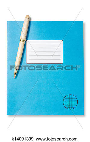 Stock Illustration of Blue exercise book and pen k14091399.