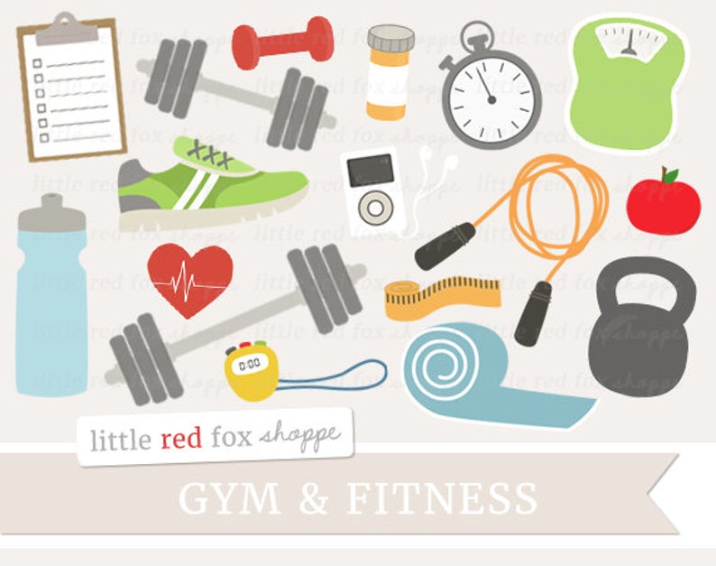 Fitness Clipart, Gym Equipment Clip Art Health Exercise Athletic Shoe  Weights Gym Sports Cute Digital Graphic Design Small Commercial Use.