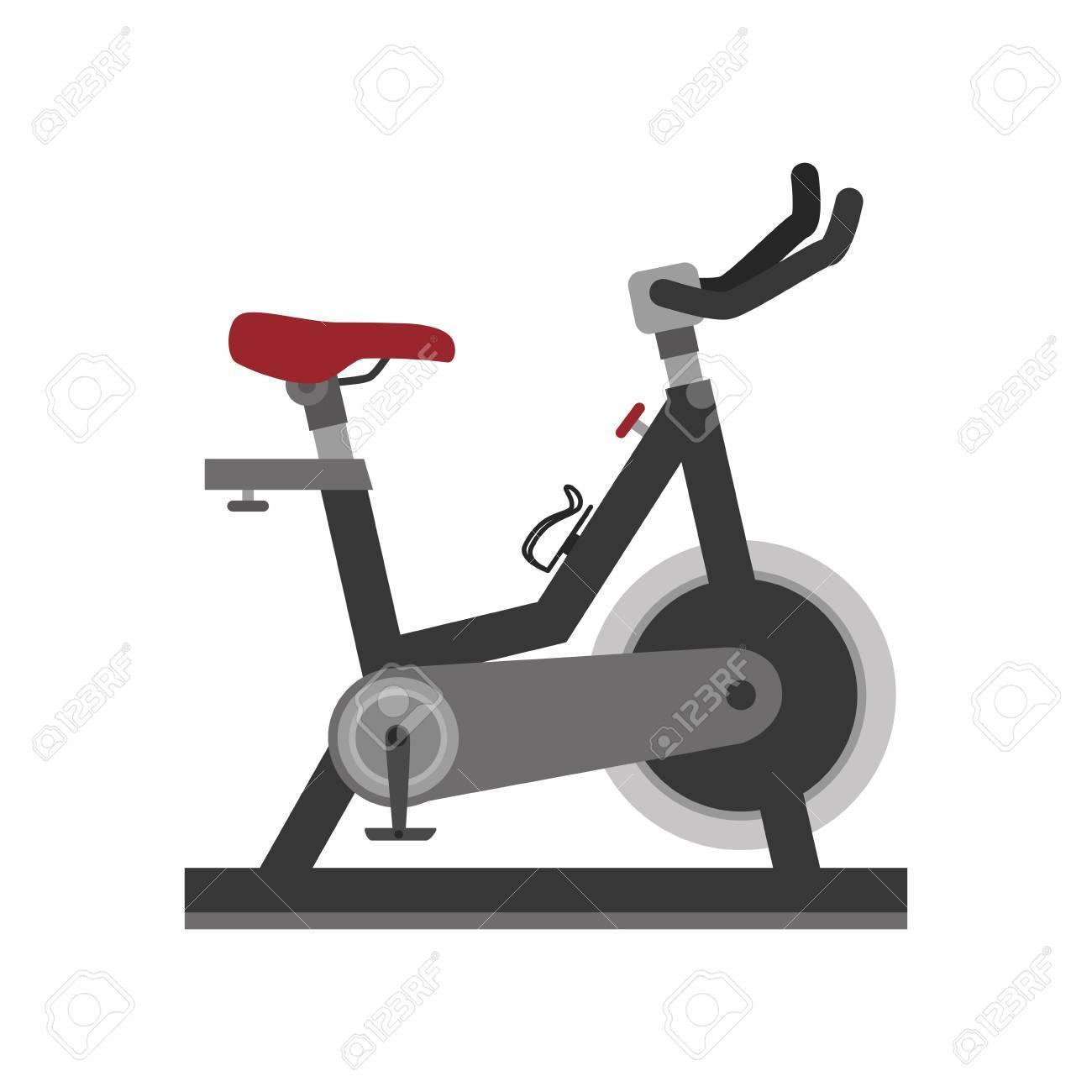 bike gym equipment training fitness static exercise vector illustration...