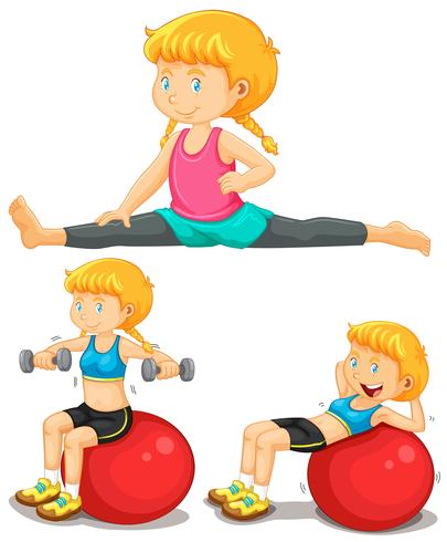 Girl doing exercise with big ball.