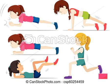 Set of girls doing fitness exercise.