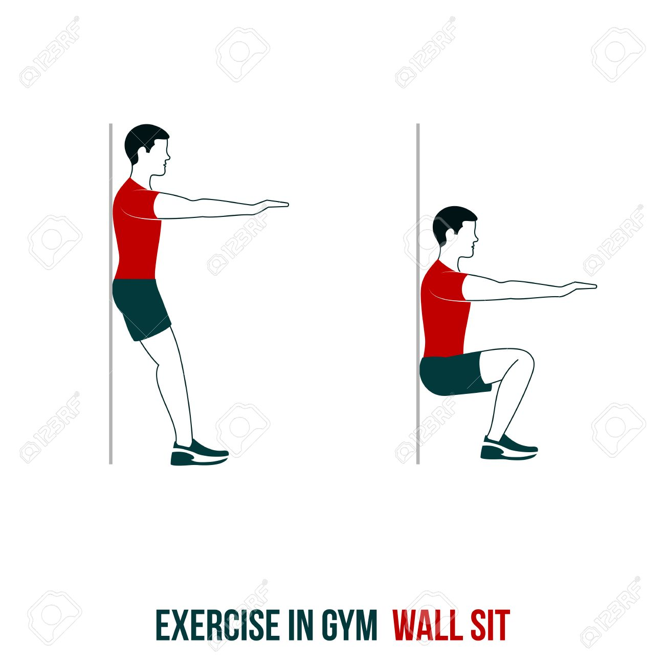 Fitness, Aerobic And Workout Exercise In Gym. Vector Set Of.
