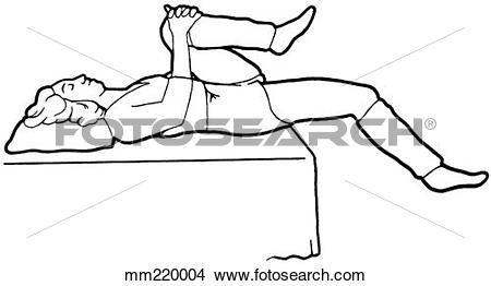 Drawings of Exercise, leg drop mm220004.