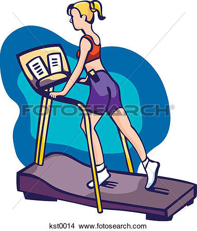 Drawings of A woman reading while exercising on a running machine.