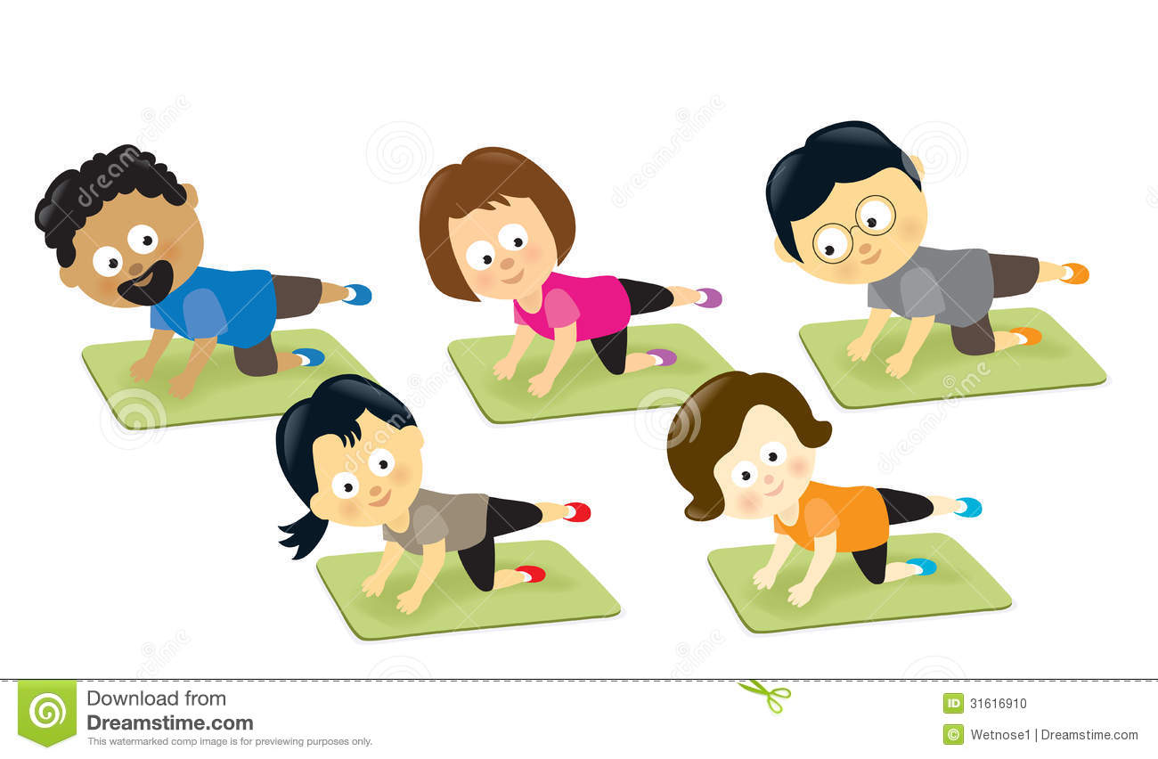 Group People Exercising Clipart.