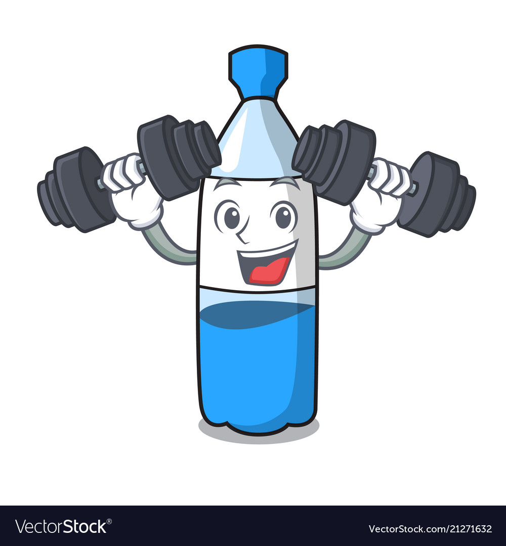 Fitness water bottle character cartoon.