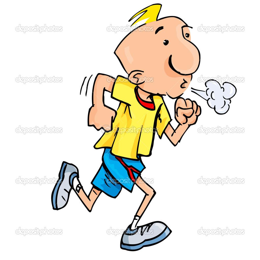 Cartoon of a jogging man puffing exertion — Stock Vector.