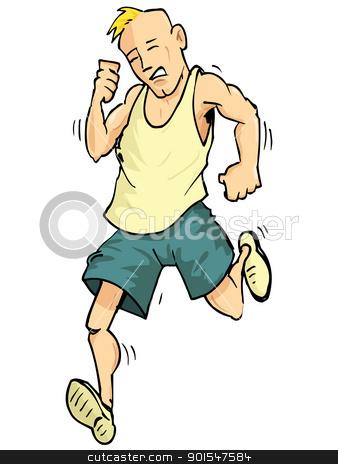 Cartoon of a running man stock vector.