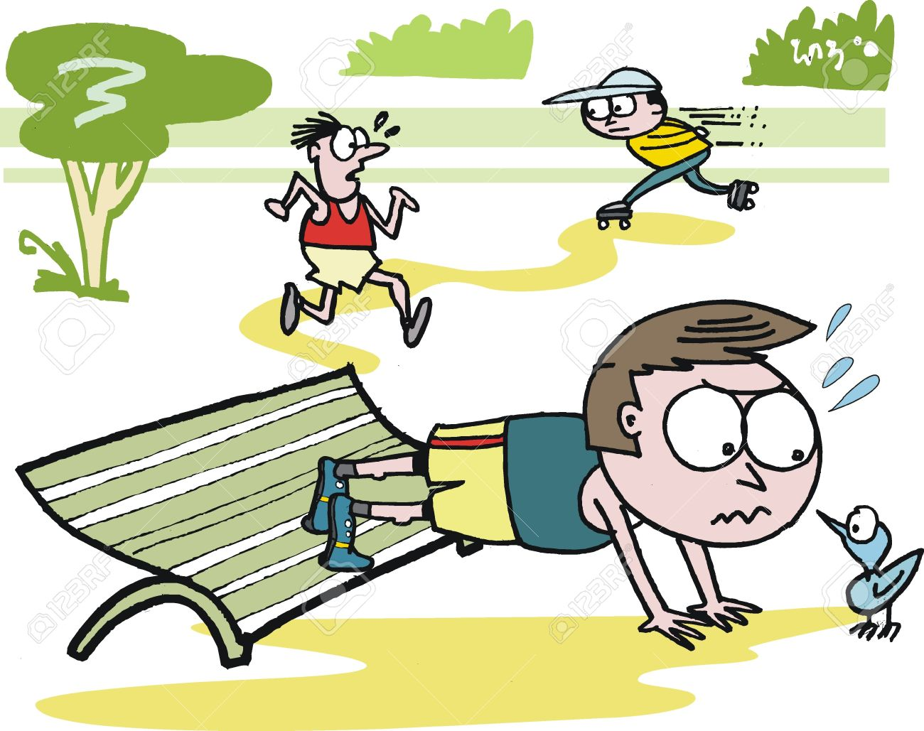 Vector Cartoon Of Man Doing Exercises In Park Royalty Free.