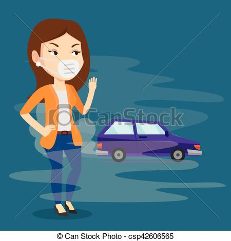 Clip Art Vector of Air pollution from vehicle exhaust..
