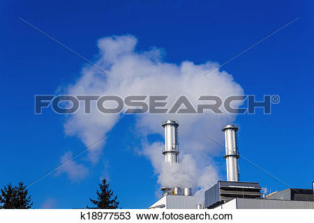 Stock Photo of industry chimney with exhaust gases k18977553.