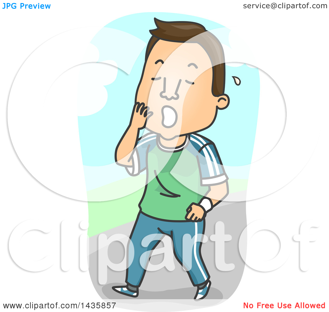 Clipart of a Cartoon Brunette White Man Yawning After an.