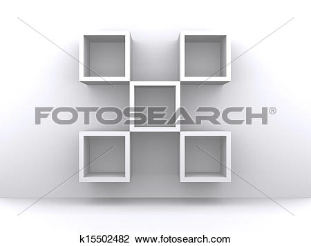 Clip Art of empty exhibition shelves on the white wall k15502482.