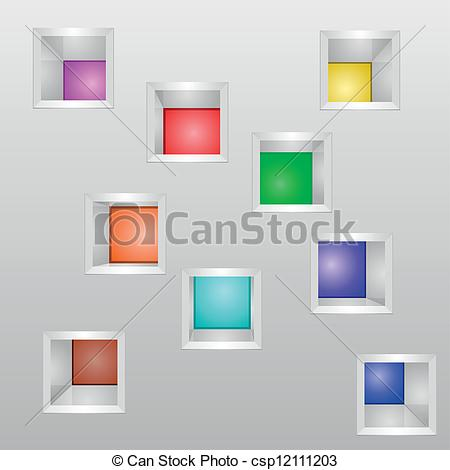 Vector Clipart of exhibition shelves.