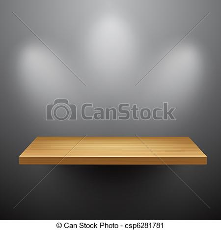 Clipart of 3d isolated Empty shelf for exhibit. Vector.