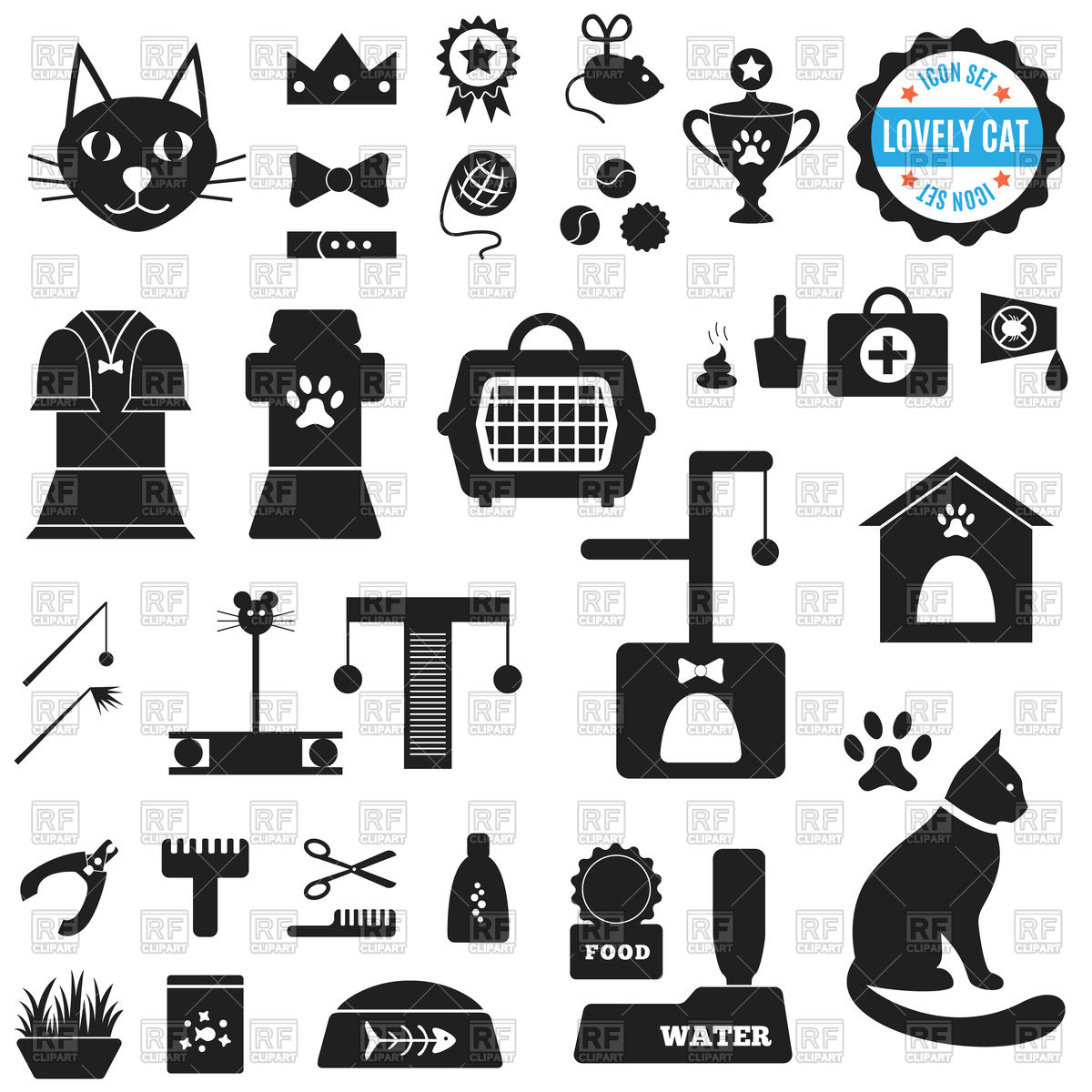 Set of icons for cat food, house, cleaning, toys, clothing.