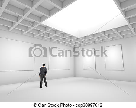 Clipart of Hall for exhibitions with blank canvas and figure of.